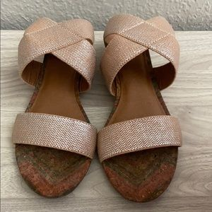 LUCKY BRAND NUDE AND SILVER SANDALS